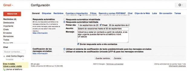 Crea una respuesta autom tica en gmail for Fuera de oficina gmail